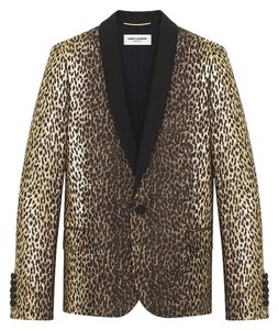Yves Saint Laurent SAINT LAURENT SINGLE-BREASTED JACKET IN BLACK AND GOLD LEOPARD WOVEN LAM