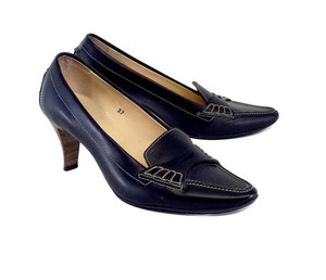 Tod's Black Leather Loafer Heels Pumps