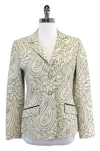 Etro Cream & Black Print Cotton Textured Jacket