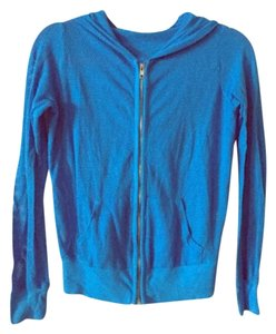 SOLOW cotton mesh blue yoga zip up hoodie sweater