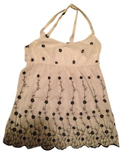 Charlotte Russe Top White with black flowers