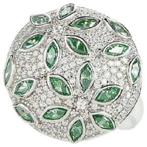 Diamonique Diamonique Sterling Silver 2.50ct Simulated Emerald Floral Design Bold Round Ring - Size 7