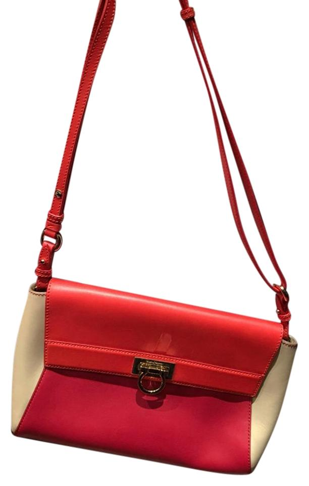 0a0825d456d4 Salvatore Ferragamo Red Orange Off White Leather Cross Body Bag ...