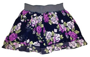 Charlotte Russe Skirt Dark blue with various shades of purple/pink flowers with green leaves