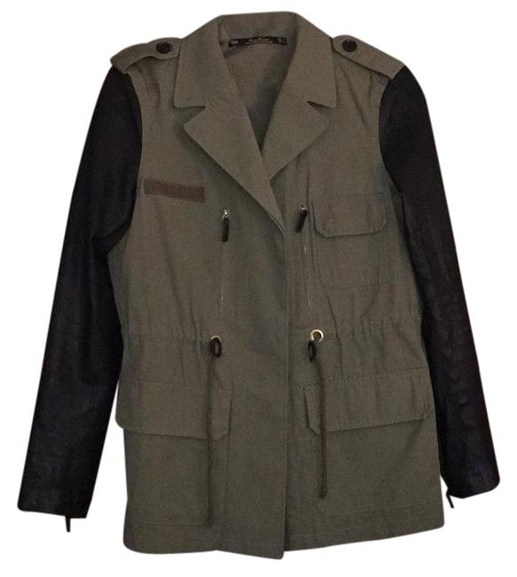 Item - Olive Green/Black Safari with Leather Sleeves Jacket Size 12 (L)