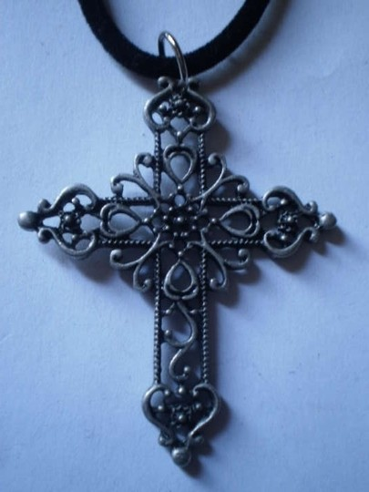 Handmade New gunmetal gray cross necklace