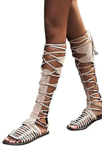 Free People Gladiator Boho Chic Flower Child Natural Suede Sandals