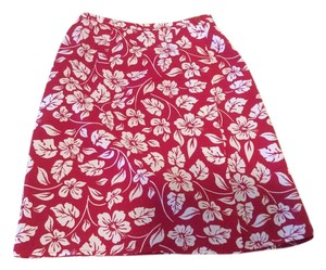Casual Corner Floral Floral Skirt Red with white