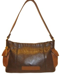 Fossil Refurbished Leather Brown Multi Pocket Shoulder Bag