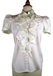Ralph Lauren Ruffle Button Down Shirt White