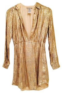 Paul & Joe Sequin Mini Cocktail Gold Dress