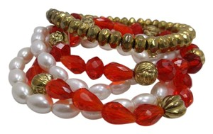 Set of 5 Stretch Bracelets Red Goldtone and White w Free Shipping