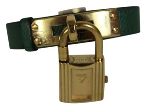 Hermès Auth Hermes Kelly Lock Gold-plated Green Leather Quartz Watch