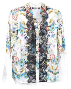 Roberto Cavalli Lace Floral Silk Top Multicolor