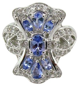 Victoria Wieck Victoria Wieck 1.56ct Tanzanite and White Topaz Vintage-Design Shield Ring - Size 8