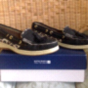 Sperry Black/Leopard Flats