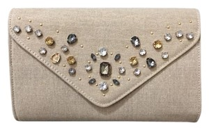 Nine West Jewels Linen Metalic Gold Beige Clutch