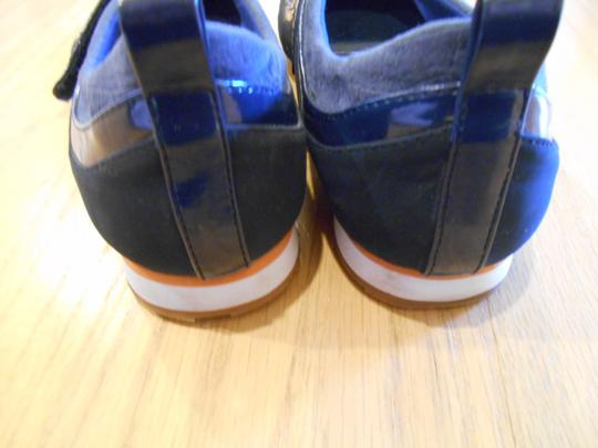 AJ. Valenci Slide On Velcro Close Strap Tennis Walking Casual Suede Look Patent Look Navy Blue Flats