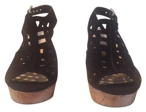 Franco Sarto Platform Cork Heel black Wedges