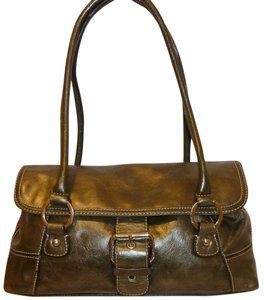 Giani Bernini Refurbished Leather Green Satchel in Olive Green