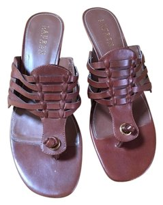 Ralph Lauren Woven Leather Summer Resort Brown Sandals