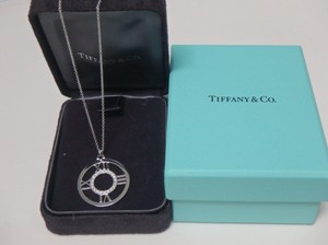 Tiffany & Co. White Gold W Atlas Large Open Medallion W/ Diamonds In 18k Wg Pendant with Boxes Necklace