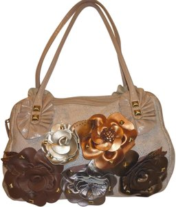 Sharif Refurbished Leather Flowers Satchel in Bone and Multi