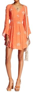 Free People short dress Papaya Embroidered Flowing on Tradesy