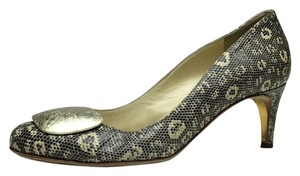 Rupert Sanderson Snakeskin Silver Black and Ivory Pumps