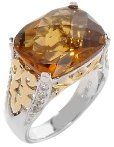 Victoria Wieck Victoria Wieck 7.25ct Whiskey Quartz and White Topaz 2-Tone Leaf-Design Ring - Size 5