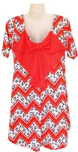 Other short dress coral, white, teal, yellow, purple Tunic Back Bow Chevron Leopard on Tradesy