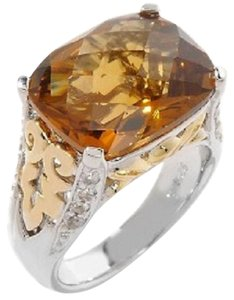 Victoria Wieck Victoria Wieck 7.25ct Whiskey Quartz and White Topaz 2-Tone Leaf-Design Ring - Size 6