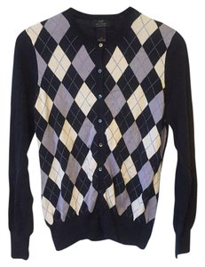 Brooks Brothers Argyle Navy White Supima Cotton Cardigan