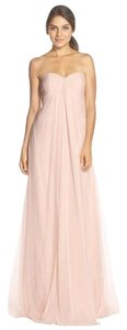 Monique Lhuillier Bridal Bridesmaid Wedding Chiffon Blush Dress