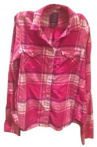 American Eagle Outfitters Flannel Winter Blue Button Down Shirt pink