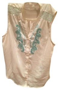 Forever 21 Teal Cream Summer Top white