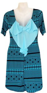 Other short dress teal, black Back Bow Aztec Tunic Teal on Tradesy