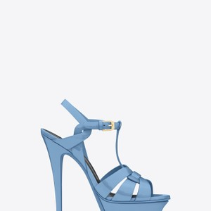 Saint Laurent Ysl Sandals Heels Blue Light blue Platforms