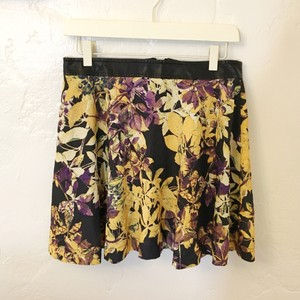 BP. Clothing Floral Skater Faux Leather Mini Flowy Mini Skirt Purple, yellow, black