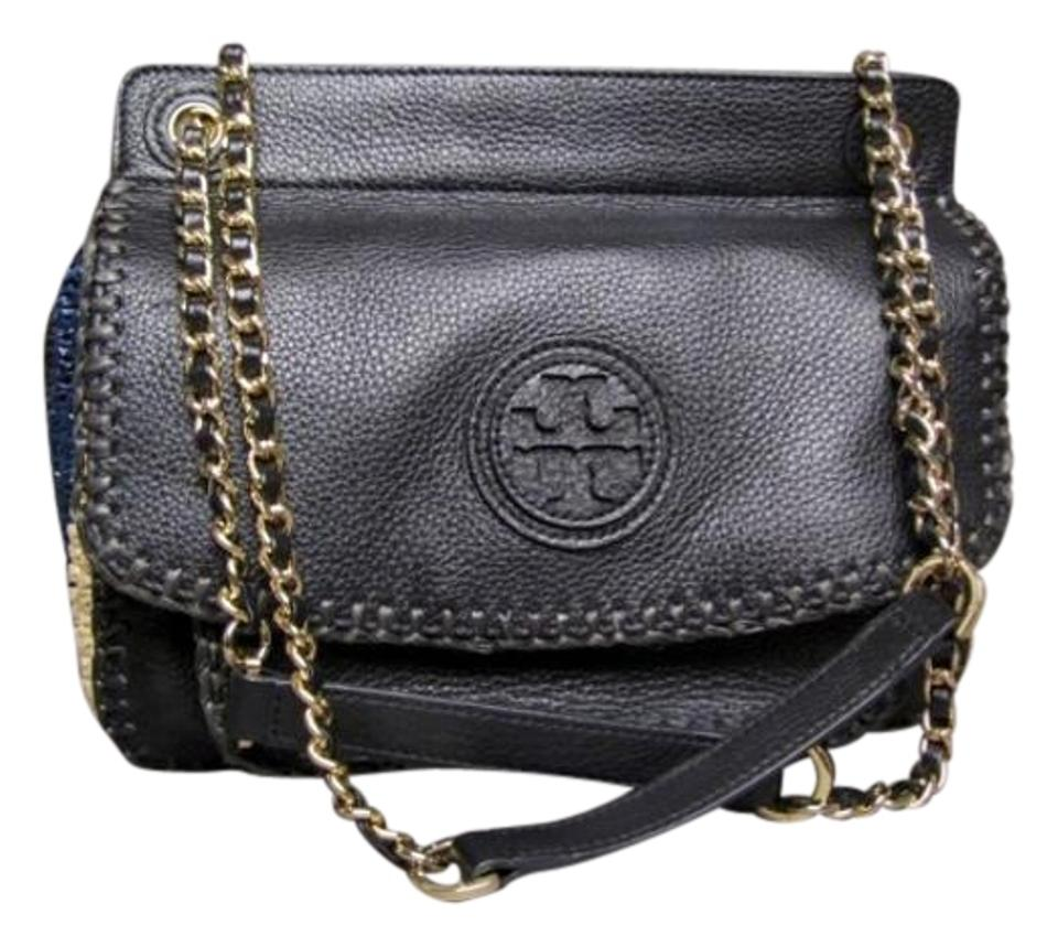 17989ed746b Tory Burch Marion Woven Straw Saddle Black Leather Shoulder Bag ...