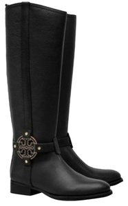 Tory Burch Amanda Riding Leather Gold Hardware Ankle Black Boots