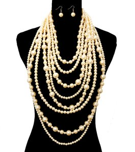 Multilayer Chunky Pearl Necklace And Earrings Set