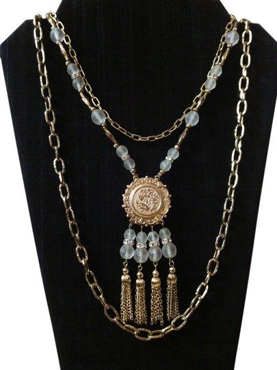 Oriental Gold Tone Multi Chain Estate Necklace Vintage Asian Multi Chain Estate Necklace