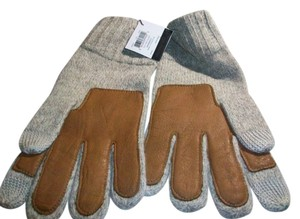 Coach Coach Men's Tech Knit Wool Gloves Oatmeal/ Tan Leather Palms XL F83757