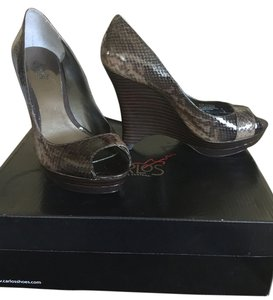 Carlos by Carlos Santana Chocolate/Black python Wedges