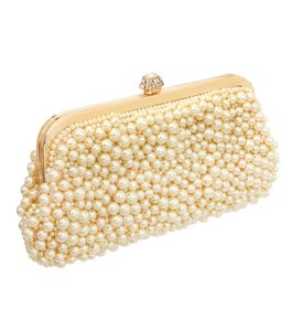Stunning Pearl Fringed Chain Evening Cream Gold Clear Crystal Clutch
