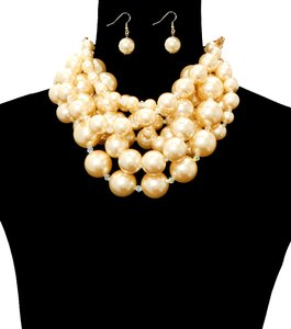 Multilayer Chunky Pearl Champagne Necklace And Earrings Set