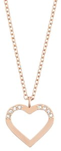 Swarovski Swarovski Heart Charm Holder Necklace, Rose Gold, 5070437