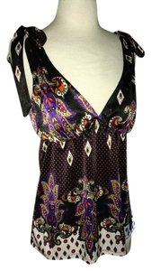 Grass Collection Pattern Satin Strappy Top black, multi color