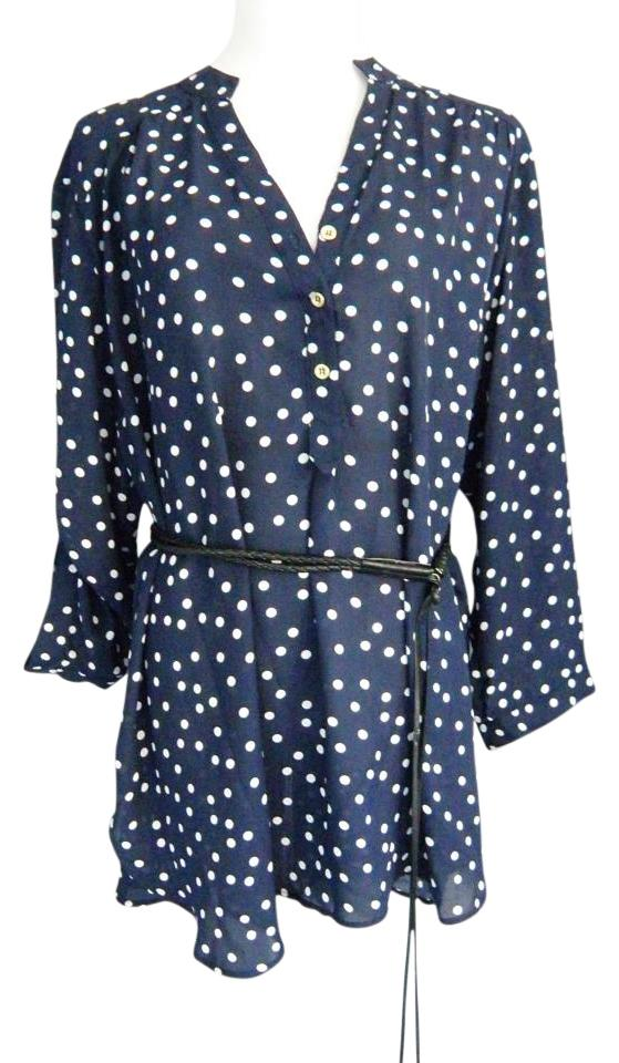 Cato Sheer Clic Plus Size Tunic Top Blue And White Polka Dot